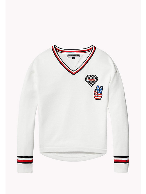 TOMMY HILFIGER Iconic Badge V-Neck Jumper - BRIGHT WHITE - TOMMY HILFIGER Girls - main image