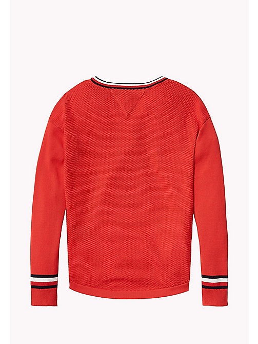 TOMMY HILFIGER Iconic Badge V-Neck Jumper - FLAME SCARLET - TOMMY HILFIGER Jumpers & Cardigans - detail image 1