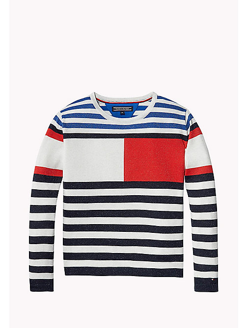 TOMMY HILFIGER BRIGHT SPARKLY FLAG CN SWEATER - BLACK IRIS - TOMMY HILFIGER Jumpers & Cardigans - main image
