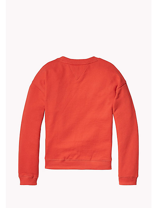 TOMMY HILFIGER Tactile Embroidered Crew Neck - FLAME SCARLET - TOMMY HILFIGER Girls - detail image 1
