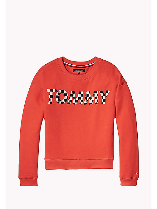TOMMY HILFIGER Tactile Embroidered Crew Neck - FLAME SCARLET - TOMMY HILFIGER Girls - main image