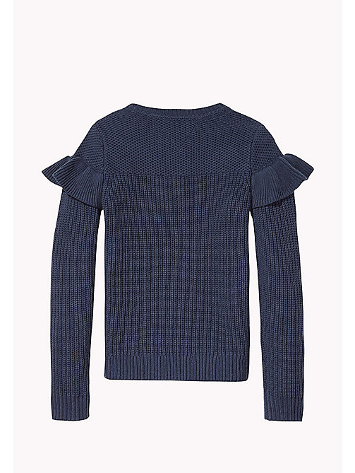 TOMMY HILFIGER Ruffle Detail Jumper - BLACK IRIS - TOMMY HILFIGER Girls - detail image 1