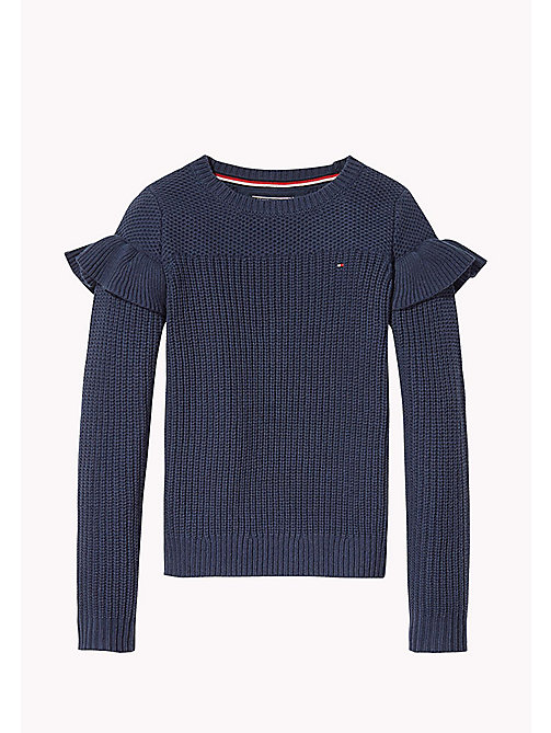 TOMMY HILFIGER Ruffle Detail Jumper - BLACK IRIS - TOMMY HILFIGER Girls - main image