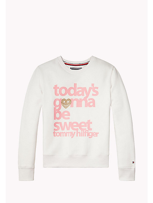 TOMMY HILFIGER AME GIRLS PRINT CN HWK L/S - BRIGHT WHITE - TOMMY HILFIGER Hauts - image principale