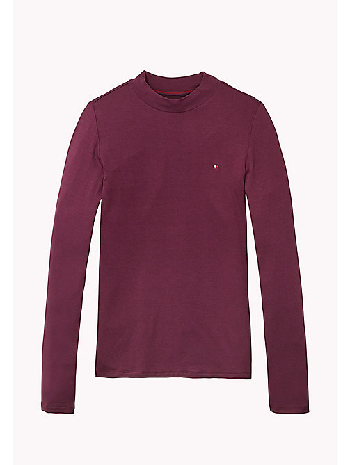TOMMY HILFIGER High Neck Long Sleeve T-Shirt - GRAPE WINE - TOMMY HILFIGER Girls - main image
