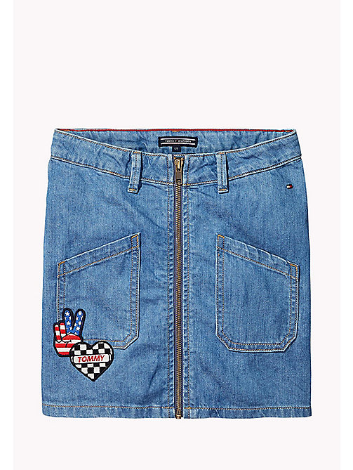TOMMY HILFIGER Gonna in denim con badge - KEYS LIGHT BLUE RIGID - TOMMY HILFIGER Bambine - immagine principale