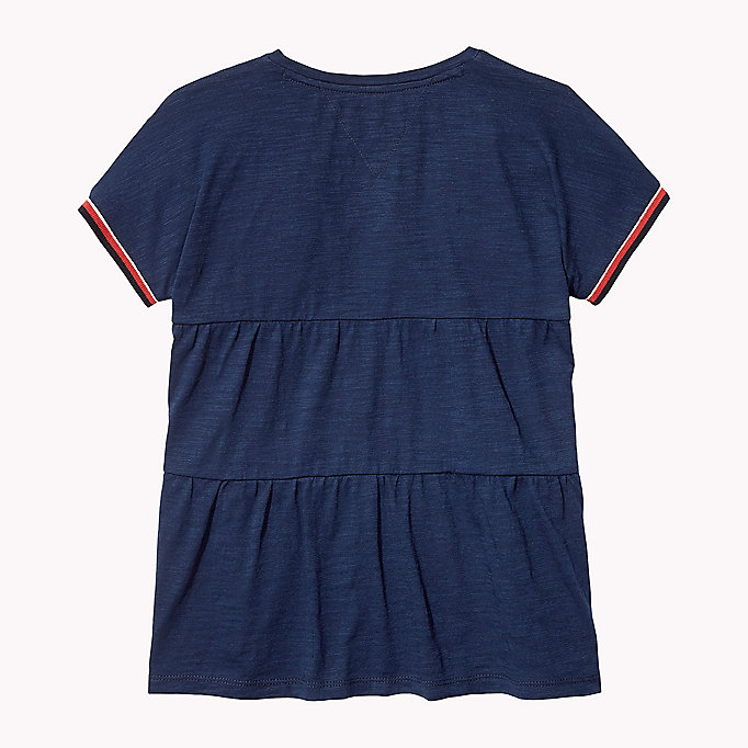 TOMMY HILFIGER Tiered V-Neck T-Shirt - BRIGHT WHITE - TOMMY HILFIGER Kids - detail image 1