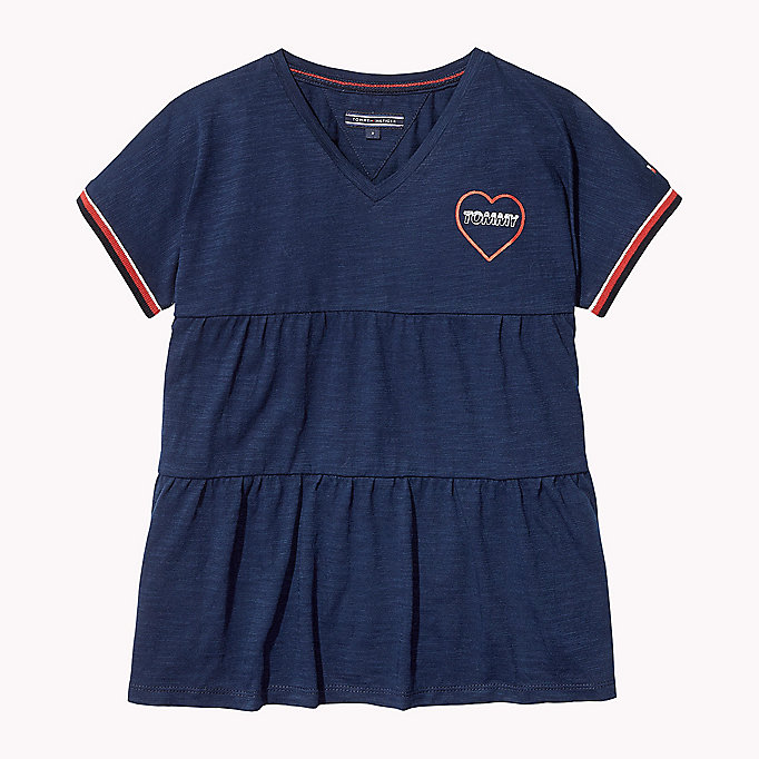 TOMMY HILFIGER Tiered V-Neck T-Shirt - BRIGHT WHITE - TOMMY HILFIGER Kids - main image
