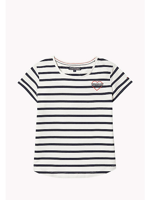 TOMMY HILFIGER Stripe Heart T-Shirt - BLACK IRIS - TOMMY HILFIGER Tops & T-shirts - main image