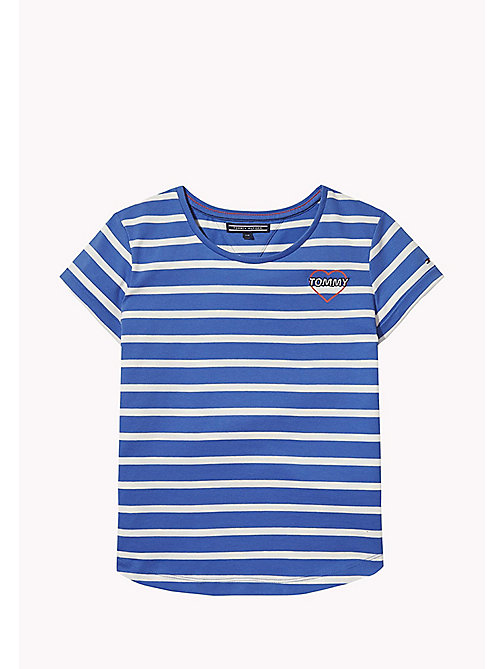 TOMMY HILFIGER Stripe Heart T-Shirt - NAUTICAL BLUE - TOMMY HILFIGER Girls - main image