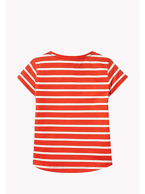 TOMMY HILFIGER Stripe Heart T-Shirt - FLAME SCARLET - TOMMY HILFIGER Girls - detail image 1