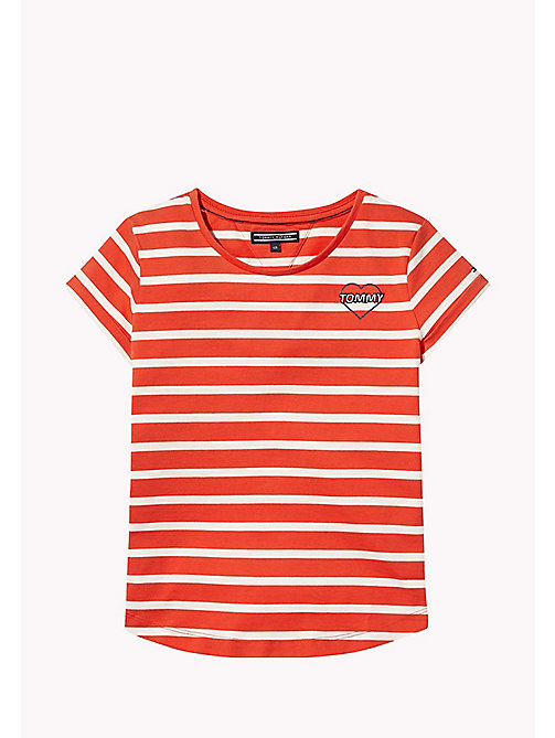 TOMMY HILFIGER Stripe Heart T-Shirt - FLAME SCARLET - TOMMY HILFIGER Girls - main image