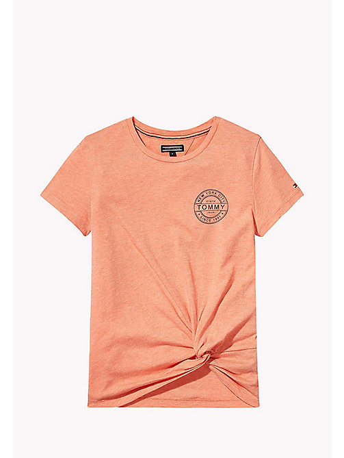 TOMMY HILFIGER Knotted T-Shirt - SPICED CORAL HEATHER - TOMMY HILFIGER Meisjes - main image