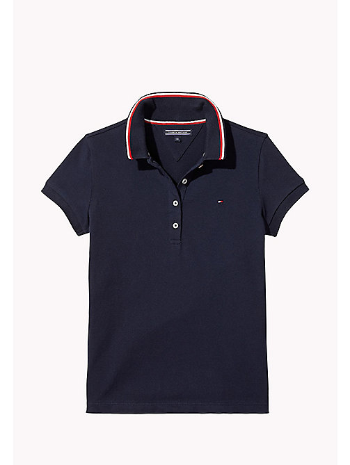 TOMMY HILFIGER Cotton Polo Shirt - BLACK IRIS - TOMMY HILFIGER Tops & T-shirts - main image