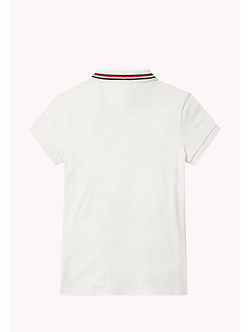 TOMMY HILFIGER Cotton Polo Shirt - BRIGHT WHITE - TOMMY HILFIGER Girls - detail image 1