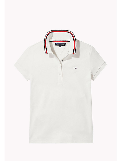 TOMMY HILFIGER Cotton Polo Shirt - BRIGHT WHITE - TOMMY HILFIGER Girls - main image