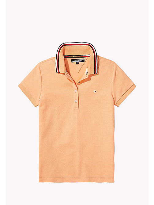 TOMMY HILFIGER Cotton Polo Shirt - PAPAYA PUNCH - TOMMY HILFIGER Girls - main image