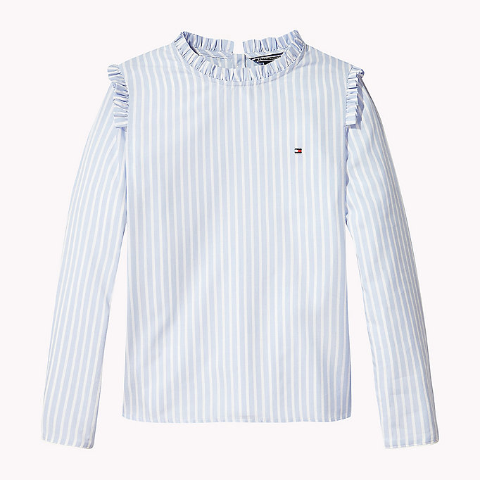 TOMMY HILFIGER Charming Stripe Ruffle Top - SPICED CORAL - TOMMY HILFIGER Kids - main image