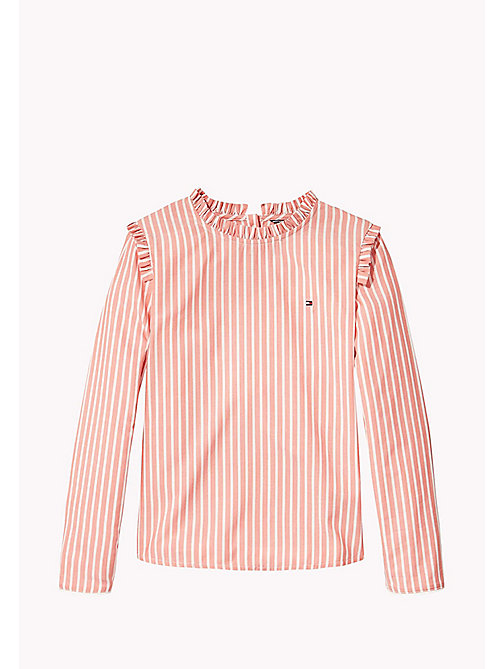 Charming Stripe Ruffle Top - SPICED CORAL - TOMMY HILFIGER Filles - image principale