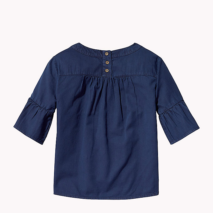 TOMMY HILFIGER Cotton Pleated Top - PAPAYA PUNCH - TOMMY HILFIGER Kids - detail image 1