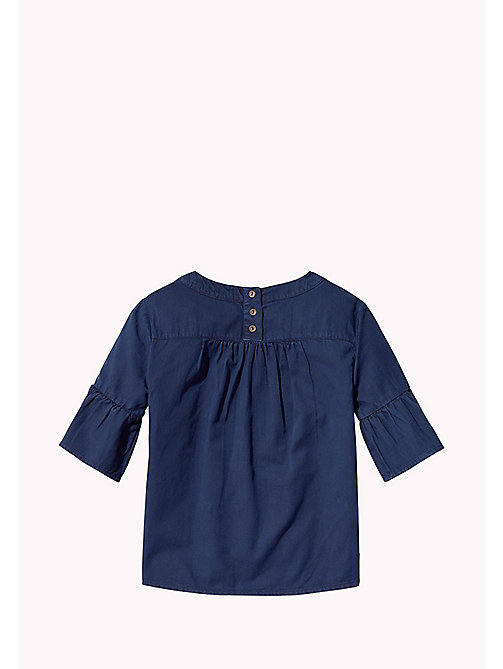 TOMMY HILFIGER Cotton Pleated Top - BLACK IRIS - TOMMY HILFIGER Girls - detail image 1