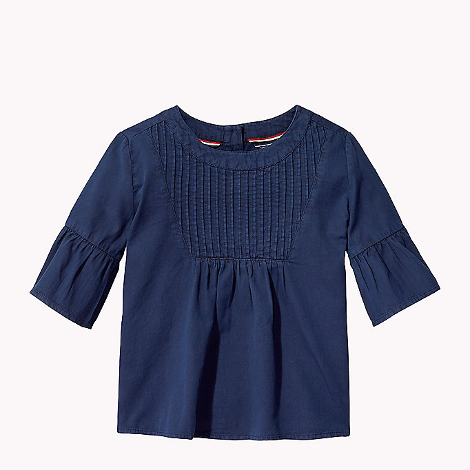 TOMMY HILFIGER Cotton Pleated Top - PAPAYA PUNCH - TOMMY HILFIGER Kids - main image