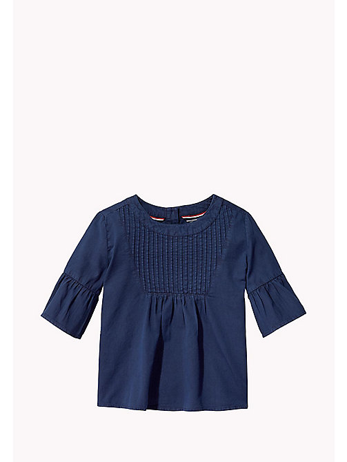 TOMMY HILFIGER Cotton Pleated Top - BLACK IRIS - TOMMY HILFIGER Girls - main image
