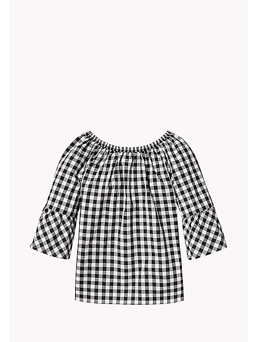 TOMMY HILFIGER Gathered Gingham Top - TOMMY BLACK - TOMMY HILFIGER Tops & T-shirts - detail image 1