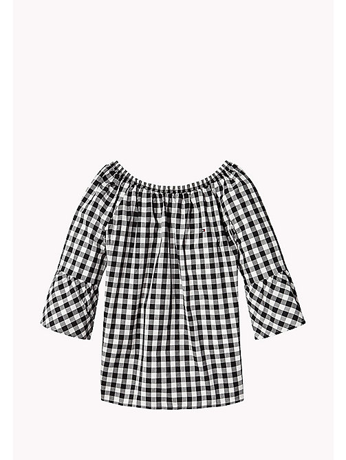 TOMMY HILFIGER Gathered Gingham Top - TOMMY BLACK - TOMMY HILFIGER Tops & T-shirts - main image