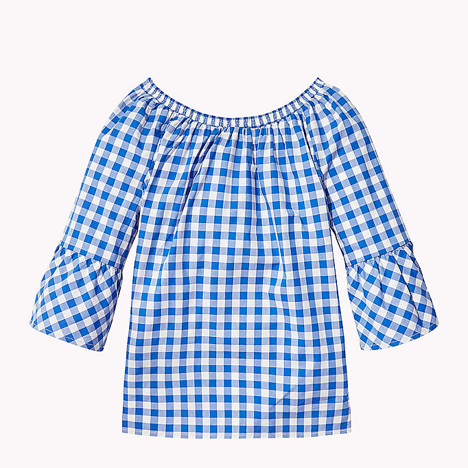 TOMMY HILFIGER Gathered Gingham Top - TOMMY BLACK - TOMMY HILFIGER Kids - detail image 1