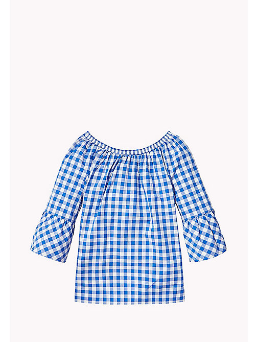 TOMMY HILFIGER Gathered Gingham Top - NAUTICAL BLUE - TOMMY HILFIGER Tops & T-shirts - detail image 1