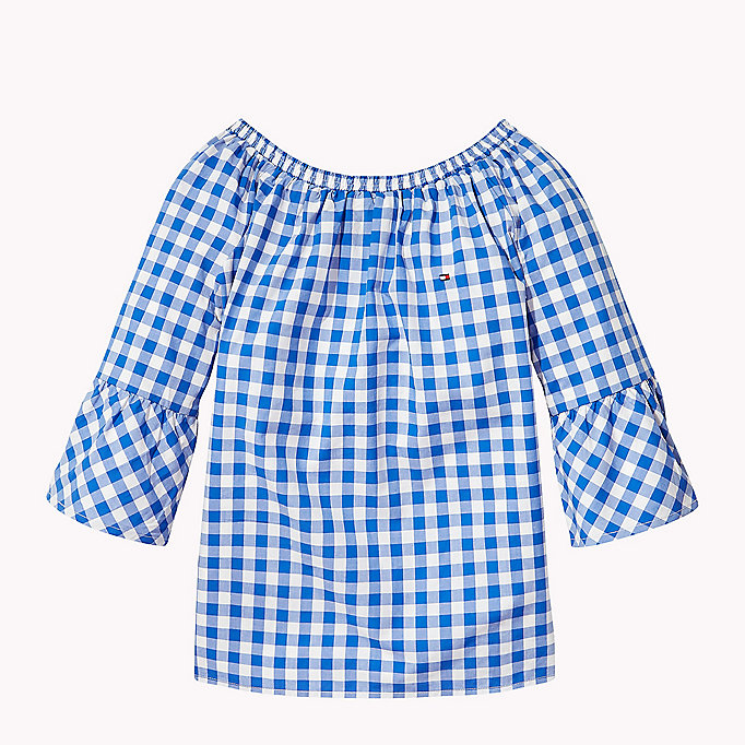 TOMMY HILFIGER Gathered Gingham Top - TOMMY BLACK - TOMMY HILFIGER Kids - main image