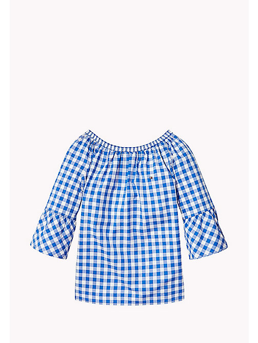 TOMMY HILFIGER Gathered Gingham Top - NAUTICAL BLUE - TOMMY HILFIGER Girls - main image