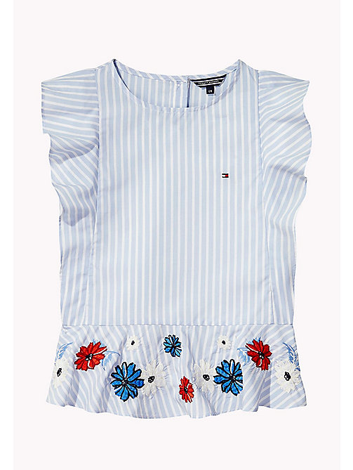 TOMMY HILFIGER Fun Stripe Ruffle Top - SERENITY - TOMMY HILFIGER Tops & T-shirts - main image
