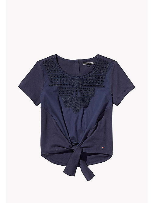 TOMMY HILFIGER Embroidered Knot Top - BLACK IRIS - TOMMY HILFIGER Girls - main image