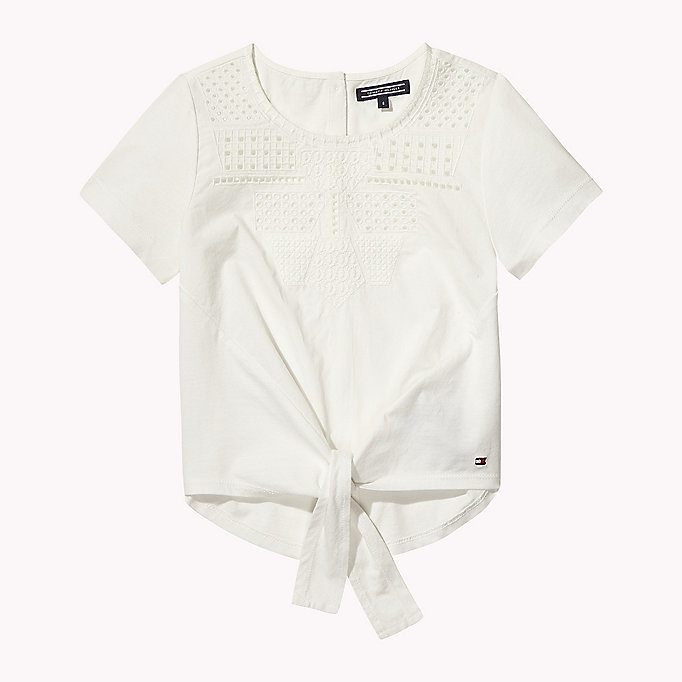 TOMMY HILFIGER Embroidered Knot Top - BLACK IRIS - TOMMY HILFIGER Kids - main image