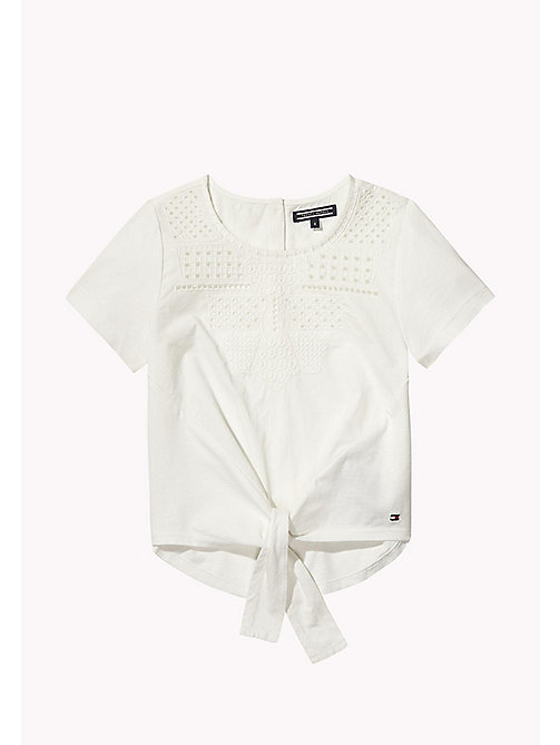 TOMMY HILFIGER Embroidered Knot Top - BRIGHT WHITE - TOMMY HILFIGER Girls - main image