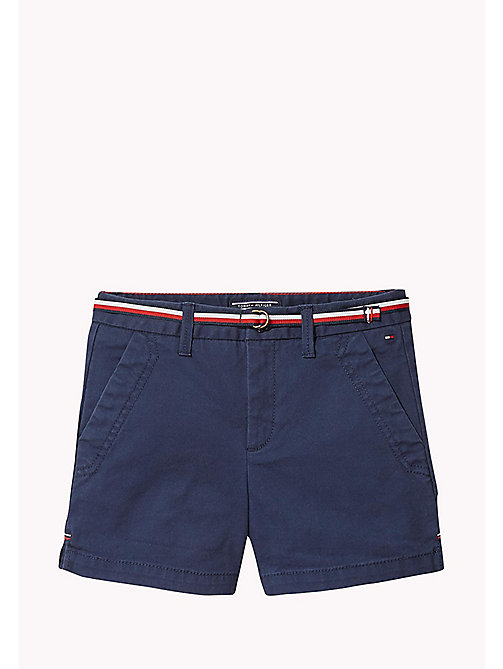 TOMMY HILFIGER Organic Cotton Belted Shorts - BLACK IRIS - TOMMY HILFIGER Trousers & Skirts - main image