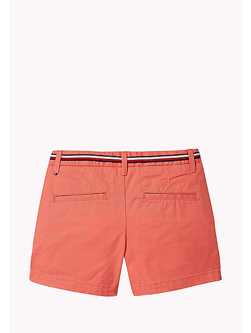 TOMMY HILFIGER Organic Cotton Belted Shorts - SPICED CORAL - TOMMY HILFIGER Girls - detail image 1