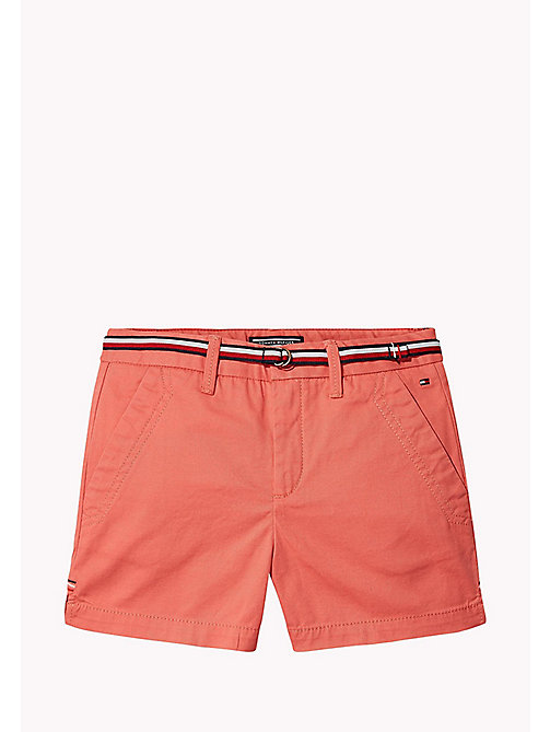 TOMMY HILFIGER Organic Cotton Belted Shorts - SPICED CORAL - TOMMY HILFIGER Girls - main image