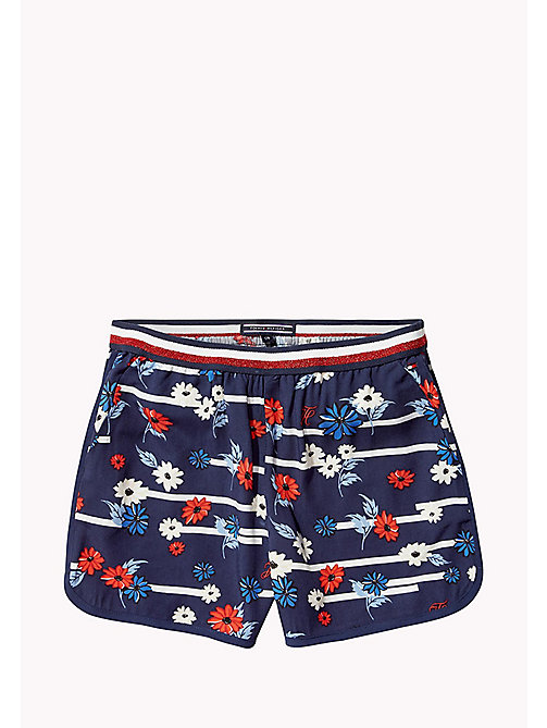 TOMMY HILFIGER Floral Stripe Shorts - BLACK IRIS - TOMMY HILFIGER Girls - main image