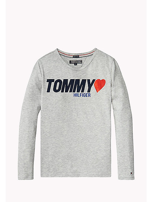 TOMMY HILFIGER Heart Logo T-Shirt - LIGHT GREY HTR - TOMMY HILFIGER Girls - main image