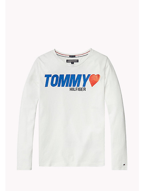 TOMMY HILFIGER Heart Logo T-Shirt - BRIGHT WHITE - TOMMY HILFIGER Girls - main image