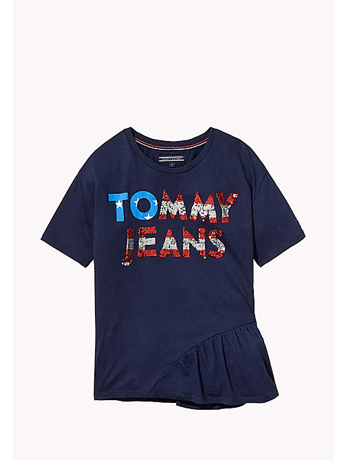 TOMMY HILFIGER Sequined Logo T-Shirt - BLACK IRIS - TOMMY HILFIGER Tops & T-shirts - main image