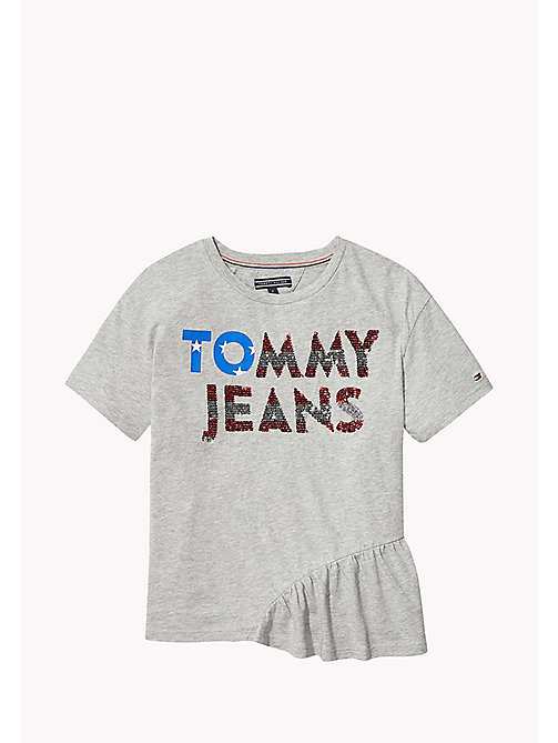 TOMMY HILFIGER Sequined Logo T-Shirt - MODERN GREY HEATHER - TOMMY HILFIGER Girls - main image