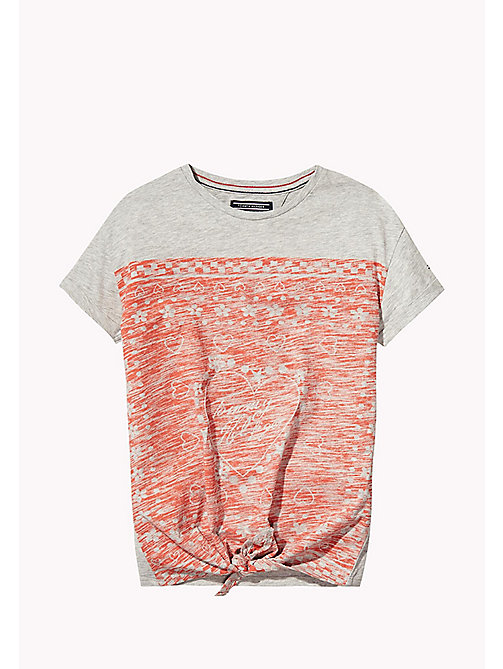 TOMMY HILFIGER Bedrukt T-shirt met knoop - LIGHT GREY HTR - TOMMY HILFIGER Meisjes - main image