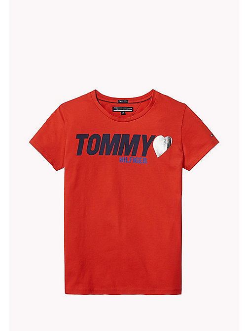 TOMMY HILFIGER Heart Logo T-Shirt - FLAME SCARLET - TOMMY HILFIGER Tops & T-shirts - main image