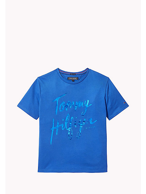 TOMMY HILFIGER T-Shirt mit Foliendruck-Logo - NAUTICAL BLUE - TOMMY HILFIGER Oberteile & T-shirts - main image