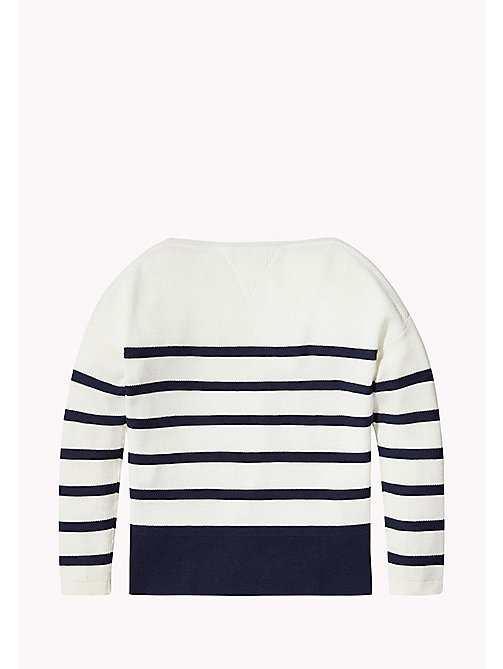 TOMMY HILFIGER Stripe Boat Neck Jumper - BRIGHT WHITE - TOMMY HILFIGER Girls - detail image 1