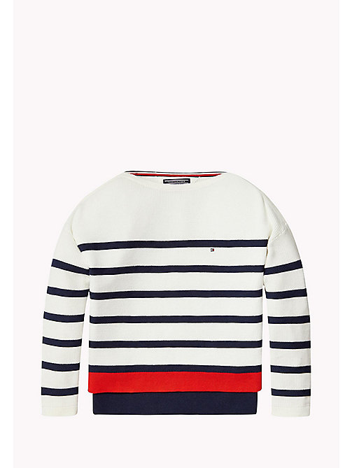 TOMMY HILFIGER Stripe Boat Neck Jumper - BRIGHT WHITE - TOMMY HILFIGER Girls - main image